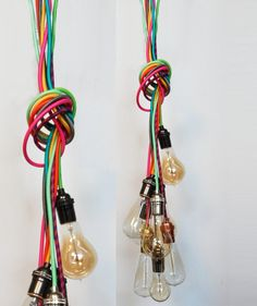 Modern Pendant Lighting  Cluster chandelier - Custom Rainbow Cloth Cords - Industrial pendant lamp Vintage Fabric Wire Twisted or Round