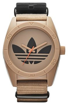 adidas Originals 'Santiago - Special Edition' Fabric Strap Watch, Nordstrom I dont like addidas but this watch is sick! Adidas Originals, The Originals, Cool Watches, Watches For Men, Retro Watches, Adidas Watch, Adidas Sportswear, Nordstrom, Luxury Watches