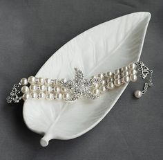 Bridal Pearl Rhinestone Bracelet Triple Strand by LXdesigns, $58.00 Love this too! Can't decide....