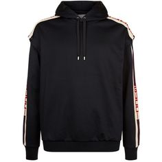 Gucci Logo Band Hooded Sweatshirt ($1,520) ❤ liked on Polyvore featuring men's fashion, men's clothing, men's hoodies, mens short sleeve hoodies, mens sport hoodies, mens sweatshirts and hoodies and mens hoodies