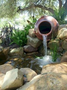 It's not difficult to create a waterfall pond feature rather than the conventional pond. With this small waterfall pond landscaping ideas you will inspired to make your own small waterfall on your home backyard. ** Read more at the image link. Outdoor Ponds, Ponds Backyard, Backyard Ideas, Modern Backyard, Pond Ideas, Backyard Waterfalls, Outdoor Fountains, Garden Ponds, Koi Ponds