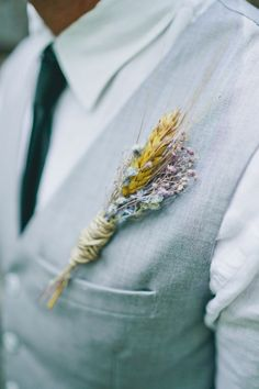 wheat + petite flower boutonniere