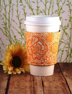 Orange Lace Coffee Cozy  Orange Coffee Cozy  Lace by SewLoveToSew