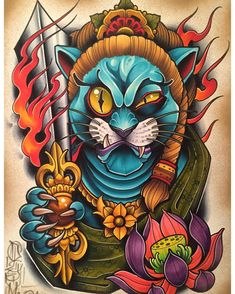 So we couldn't post this for a while because it was a surprise commission, but and I made this really fun Fudo-myoo Kitty together, and now we can finally post it. Japan Tattoo Design, Japanese Tattoo Designs, Japanese Tattoo Art, Lion Tattoo, Cat Tattoo, Body Art Tattoos, Sleeve Tattoos, Tattoo Studio, Dessin Old School