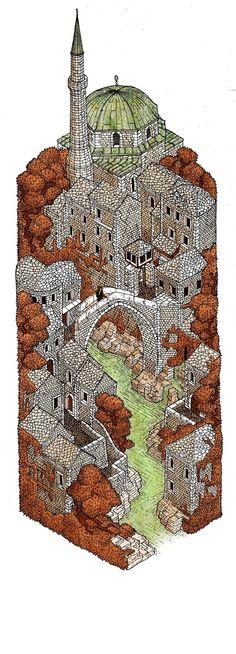 Mostar: Autumn by Evan Wakelin http://www.pinterest.com/chengyuanchieh/illustration-architecture/