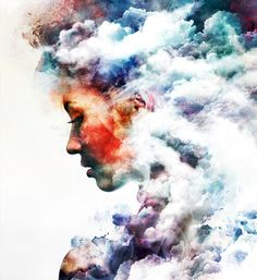 Emi Haze combines digital artwork and delicate watercolors to create trippy double exposures like this one
