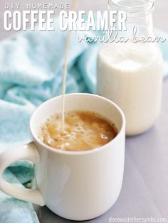 This easy recipe for Homemade Vanilla Bean Coffee Creamer is so good! It requires just 4 simple ingredients and in minutes you'll have homemade vanilla coffee creamer without the junk in store-bought. Plus it's frugal too! Vanilla Coffee Creamer, Homemade Coffee Creamer, Coffee Creamer Recipe, Healthy Coffee Creamer, Frugal, Vanilla Bean Powder, Coffee Drinks, Coffee Barista, Drinking Coffee