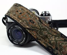 Damask Camera Strap, Olive Green, Tan, Rust, Khaki, Black, dSLR, Quick connect.