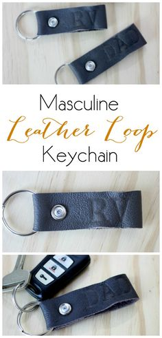 Masculine Leather Loop Keychain. Such a simple and thoughtful Father's Day gift idea.