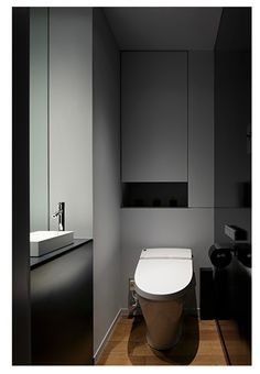 Do NOT like the height of the sink! Too low and so it looses it dramatic effect like in the picture Small Toilet Room, Guest Toilet, Downstairs Toilet, Bathroom Furniture, Bathroom Interior, Modern Bathroom, Small Bathroom, Wc Decoration, Restroom Design