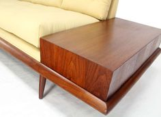 Adrian Pearsall Mid Century Modern Walnut Sofa End Tables New Upholstery at 1stdibs