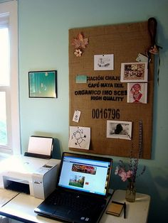 Upgrade your dorm room bulletin board. Use burlap, linen or canvas to cover your basic dorm room bulletin board
