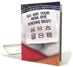 Mother Knows Best Laundry Care Instructions Mother's Day Card by Nobleworks Funny cards Mother Knows Best, Mother's Day Greeting Cards, Mothers Day Cards, Funny Cards, Holiday Cards, Laundry, Mom, Gifts, Christian Christmas Cards
