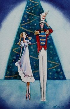 Nutcracker Ballet ACEO Painting Christmas art by christydekoning, $5.00