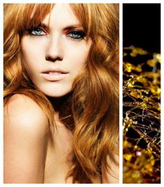 Hair color: sugar (caramel). Formulas: (on natural level 7) Formula 1: Goldwell Topchic 2 parts 8G + 1 part GG mix with 20 Volume Formula 2: Goldwell Colorance 3 parts 9KG + 1 part GG Mix + 1 part 7OO with 2% Lotion soft golden base is layered with a brighter coppery glaze. The two step process catches light at different depths in the hair strand, for a complex, dimensional shimmer. Apply F1 all over, process for a full 30min, shampoo, towel dry, and apply glaze. Leave on for at least 10min.
