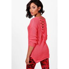 Boohoo Esme Lace Up Back Tunic Jumper ($15) ❤ liked on Polyvore featuring tops, sweaters, sequin sleeve sweater, red sweater, turtle neck sweater, party jumpers and turtleneck sweater