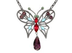 Schreiner Butterfly Necklace, Czech Glass, Rhinestones, Rare, Collectible, Signed