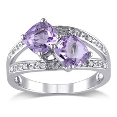 Miadora Silver Rose de France and Diamond Ring (Size 8.5), Women's, Purple