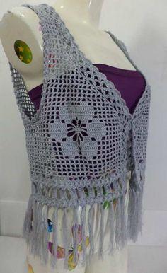 Crochet wearable , Vest,   Made to order , Crochet blouse , Spring, Women Top /  No.CB-019