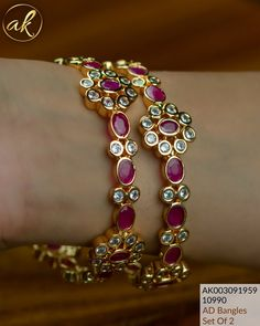 Gold Wedding Jewelry, Bridal Jewelry, Gold Jewelry, Bridal Necklace, Gold Bangles Design, Jewelry Design, Diamond Bangle, Diamond Jewelry, Ruby Bangles