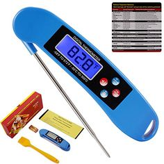 ROOCKE Meat Thermometer Instant Read Cooking Digital Food Probe Thermometer for BBQ/Grill  This meat thermometer is very nice. It's accurate and can be used in Fahrenheit or Celsius. It has a light up screen and it has a voice button that will read the temperature to you. It comes with a free grill meat brush. It also comes with the temperature guide for cooking your meat.   #ROOCKE