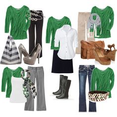 Green Top- 5 Looks, created by mystyleboard.polyvore.com