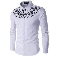 Cheap shirt making, Buy Quality shirt clipart directly from China shirt denim men Suppliers: Camisa Masculina Slim Fashion Men Shirt 2017 New Brand Casual Long-Sleeved Chemise Homme Camisa Masculina large size African Attire, African Wear, African Style, African Shirts For Men, White Shirt Men, African Men Fashion, Look Fashion, Fashion Men, White Fashion