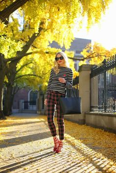 Street style - black & white stripe top Commes des Garcon, Tartan pants by Joe Fresh, Red Valentino shoes, Karen Walker sunglasses.