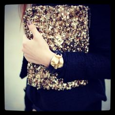 Sequin clutch Le Bel Age #gold