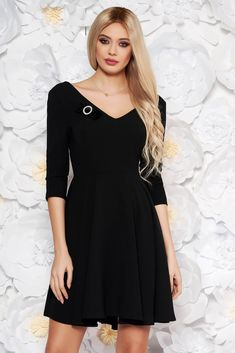 "StarShinerS black elegant cloche dress flexible thin fabric/cloth with v-neckline accessorized with belt, accessorized with breastpin, flaring cut, ""V"" cleavage, without clothing, 3/4 sleeves, back zipper fastening, flexible thin fabric/cloth"