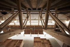 The inverted truss - architecture - domus wood Mini Clubman, Wood Architecture, School Architecture, Visual Merchandising, Grain Store, Timber Structure, Wood Detail, Dry Goods, Town And Country
