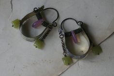 Village of Water Mills Hoops earrings-Tin Jewelry, Recycled Jewelry, Purple Pink Green, Pink Opalite Glass, Assemblage, Tribal, Vintage. $37.00, via Etsy.