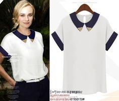 2013 New Summer Short Sleeve Paillette Collar Turn-down Collar Patchwork T-shirt Shirt Blouse in Stock $11.99
