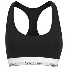 Calvin Klein Women's Logo Bralette - Black (365 SEK) ❤ liked on Polyvore featuring intimates, bras, tops, underwear, shirts, black, black sports bra, stretch bra, strap bra and black bra