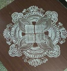 Simple Rangoli Designs Images, Rangoli Designs Flower, Beautiful Rangoli Designs, Kolam Designs, Doodle Designs, Gond Painting, Padi Kolam, Free Hand Rangoli Design, Floor Art