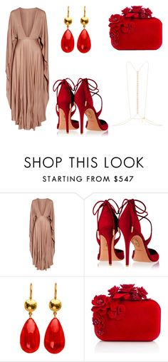 """""""Red Friday Date"""" by acaguiar on Polyvore featuring Valentino, Aquazzura, Jimmy Choo and Arme De L'Amour"""