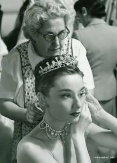 Audrey Hepburn on the set of 'Roman Holiday', produced in 1953.