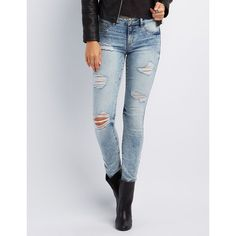 Refuge Skin Tight Legging Destroyed Jeans ($33) ❤ liked on Polyvore featuring jeans, acid wash denim, faded skinny jeans, denim jeans, torn jeans, distressed skinny jeans and ripped jeans