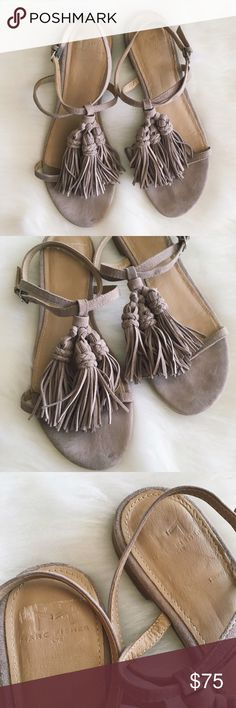 """MARC FISHER  Crystal {Current} Suede SZ 7 Marc Fisher Ltd """"Crystal"""" Tassel Sandal  Size 7 - Order Size Up for Extra Room Tan/Light Grey Suede Material Light Wear and Markings on Bottoms Current Style - Retailing for $130 No Trades, Make an Offer! Marc Fisher Shoes Sandals"""