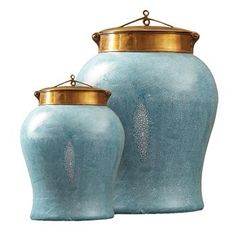 Turquoise Shagreen Asian Porcelain Bronze Lidded Tea Jars from Kathy Kuo Home. Small: 10.5 inches high x 6.75 inches wide x 6.75 inches deep.  Large: 15 inches high x 10 inches wide x 10 inches deep