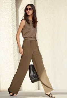 Stretch CDC Button Front Shell and Soft Drape Suiting Relaxed Pull-On Pants