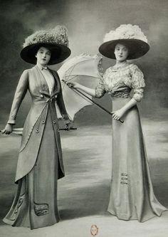 Les Modes (Paris) April 1909 Toilette de Promenade et robe pour les courses par Bernard