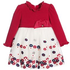 Mayoral Baby Girls Red & Ivory Dress with Tulle Skirt at Childrensalon.com