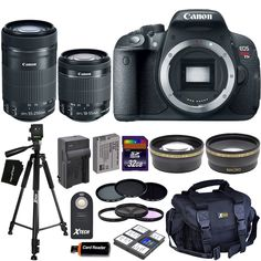 Canon EOS Rebel T5i Digital SLR Camera with 18-55mm STM & 55-250mm STM Zoom Lenses + Tele & Wide Lenses + ND Filters ND2, ND4, ND8 + 15pc 32GB Deluxe Accessory Kit - International Version. This kit includes 23 items, all brand new in original packaging, camera & lens includes all manufacturer's supplied accessories, Additional accessories are backed with Hot Deals Electronics 1 year 100% Satisfaction Guarantee. Canon EOS Rebel T5i 18.0 MP CMOS Digital Camera with 3-inch Touchscreen and…