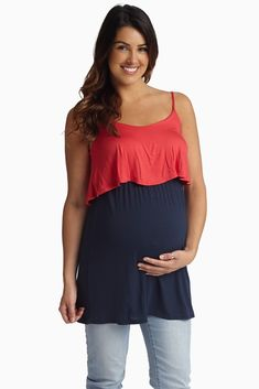 Your favorite colors come together in the most amazing color block maternity tank with overlay detail. Navy-Coral-Overlay-Maternity-Tank-Top