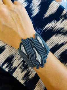 Blue black and silver luxurious jewelry Macrame jewelry Adjustable Wide macrame One of a kind coral macrame Knotted wide bangle Macrame Art, Macrame Jewelry, Macrame Bracelets, Resin Jewelry, Etsy Jewelry, Boho Jewelry, Jewelry Crafts, Luxury Jewelry, Fashion Jewelry