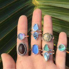 All of these rings feature things that came from the ocean or were found on a beach. #happyplace #oceanlove
