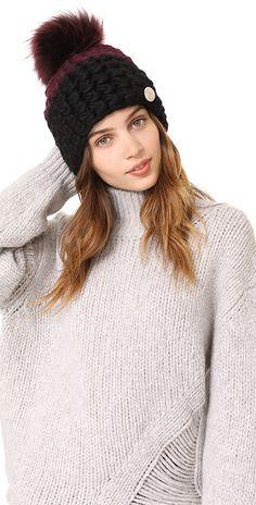 51cd716feba Deep Beanie Colorblock Hat. Fur Pom PomHead WrapsMerino WoolColor  BlockingWinter HatsTurbansWedding Shawl