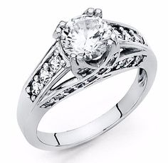 2 Ct Round Cut Engagement Ring Bridal Wedding Solid 14K White Gold #UniversalJewels #SolitairewithAccents #EngagementWeddingAnniversaryPromiseProposal