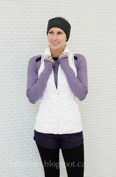 Lululemon   Orchid Base Runner LS  White Fluff Off Vest Zinfandel Hot Cheeks shorts